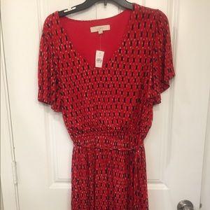 Loft Red Knee Length Tie Waist Dress